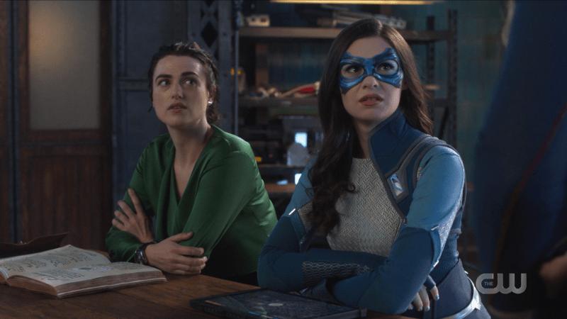 Lena and Nia look up at Kara