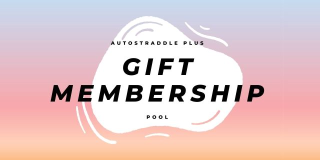 Autostraddle Plus Gift Membership Pool Announcement Feature! Features a watery pool against a sunset gradient background.