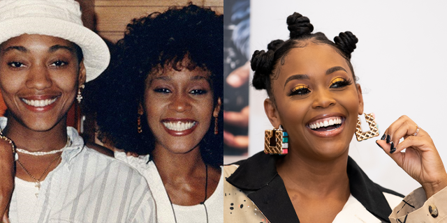 Whitney Houston and Robyn Crawford / Nafessa Williams in a two-photo collage