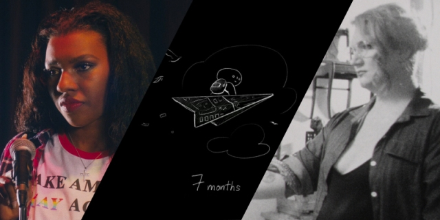 A collage of three films from Newfest: F1-100, Pure, and MonsterDykë