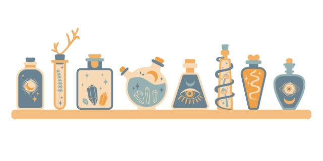 an illustration of eight potion bottles sitting on a shelf; the color scheme is blue and orange