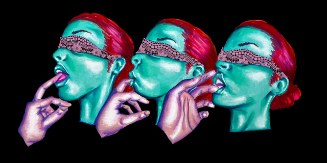 Three different images of a person with teal skin and pink hair who is wearing a patterned pink blindfold sucking on the fingers of a hand with pink skin against a black background