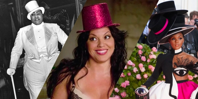 Gladys Bentley, Sara Ramirez and Callie Torres, and Janelle Monae — all wearing top hats