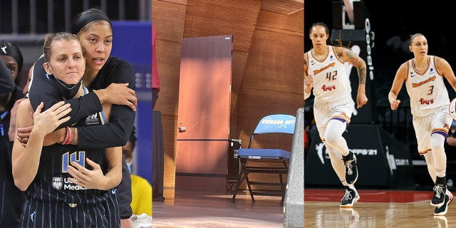 Three photo collage: Candace Parker and Allie Quigley, the door Diana Taurasi broke, and Brittney Griner and Diana Taurasi